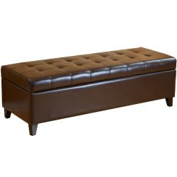 Best Selling Mission Brown Tufted Leather Storage Ottoman Bench