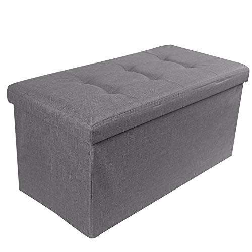 REDCAMP 30″(110L) Linen Storage Ottoman Bench, Folding Large Ottoman Foot Rest for Bedroom ...