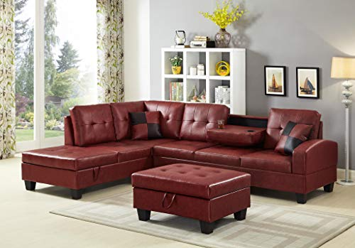 GTU Furniture Pu Leather Living Room Irreversible Living Room Sectional Sofa Set in Black/White  ...