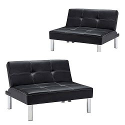 Mecor Convertible Sofa Bed PU Leather Futon Reclining Sofa Couch Adjustable Sleeper Accent Chair ...