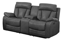 NHI Express Benjamin Motion Loveseat & Consoler (1 Pack), Gray