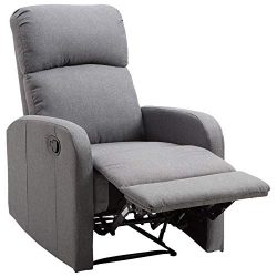 HOMCOM Linen Fabric Manual Recliner Lounger Chair with Footrest – Grey