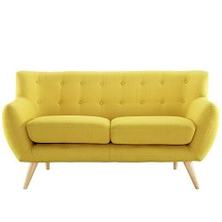 Modway Remark Mid-Century Modern Loveseat With Upholstered Fabric In Sunny