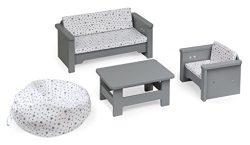 Badger Basket 6 Piece Living Room Furniture Play Set for 18 Inch (fits American Girl Dolls), Gra ...