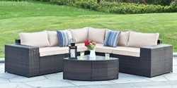 Gotland 6-Piece Outdoor Furniture Sectional Sofa & Glass Coffee Table,with Washable Sand Col ...