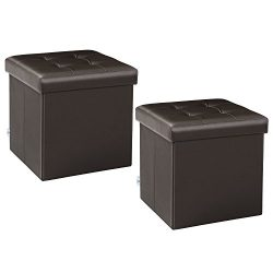 B FSOBEIIALEO Storage Ottoman Small Cube Footrest Stool Seat Faux Leather Toy Chest Brown 12.6&# ...