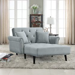Casa Andrea Milano Modern Velvet Fabric Recliner Sleeper Chaise Lounge – Futon Sleeper Sin ...
