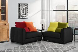 Classic 2 Piece Colorful Velvet Convertible Living Room Sofa, Adjustable Couch (Black)