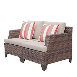 SUNSITT All Weather Woven Wicker Loveseat Outdoor Furniture Sofa Seat 2, Beige Olefin Fabric Cus ...