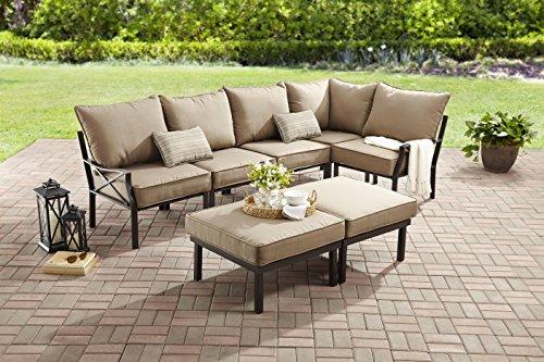 Mainstays, Sandhill 7-piece Outdoor Sofa Sectional Set, Seats 5