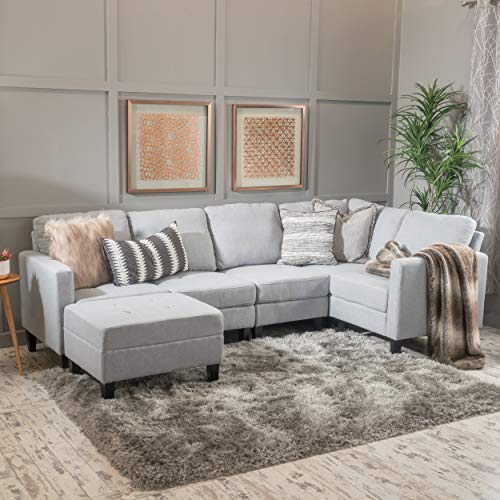 GDF Studio 300128 Bridger Light Grey Fabric Sectional Couch with Ottoman,