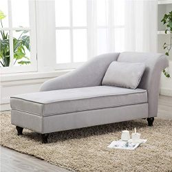Tongli Chaise Lounge Sofa Chair Couch for Bedroom or Living Room (Gray-Right)