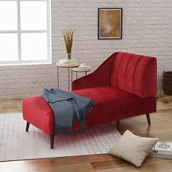 Great Deal Furniture 304533 Indira | New Velvet Chaise Lounge | in Berry, Dark Walnut