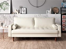 Container Furniture Direct S5454-L Orion Mid Century Modern PU Leather Upholstered Living Room L ...