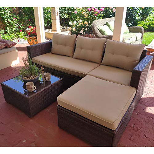 SUNSITT Outdoor Sectional Sofa 4 Piece Furniture Set All Weather Brown Wicker with Beige Seat Cu ...