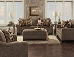 Roundhill Furniture LAF7703-02-01-05CC Camero Cafe Fabric 4 Piece Living Room Set