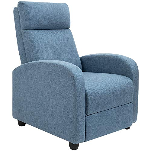 Fabric Recliner Chair Ergonomic Adjustable Single Sofa with Thicker Seat Cushion Modern Home The ...