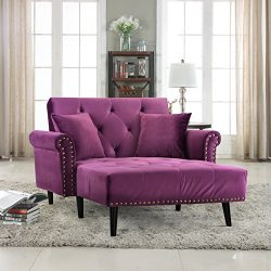 Divano Roma Furniture Modern Velvet Fabric Recliner Sleeper Chaise Lounge – Futon Sleeper  ...