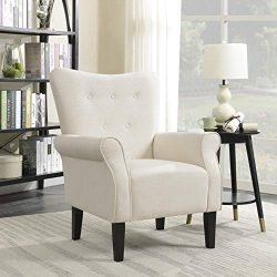 Belleze Modern Accent Chair Roll Arm Linen Living Room Bedroom w/ Wood Leg (White)
