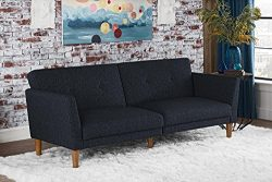 Novogratz Regal Futon with Tufted Linen Upholstery, Navy