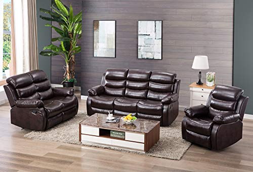 Harper & Bright Designs Classic Bonded Leather Sectional Recliner Sofa (Recliner & Loves ...