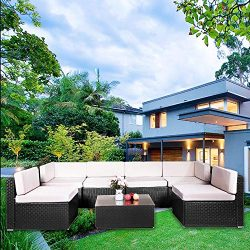 Aoxun 7-Piece Outdoor Patio Furniture Sets – PE Rattan Wicker Sofa Sectional Furniture Set ...