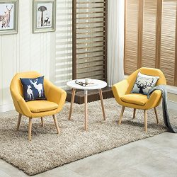 Magshion 2 Pcs Elegant Upholstered Fabric Club Chair Accent Chair W/ 2 Free Pillows (Yellow)
