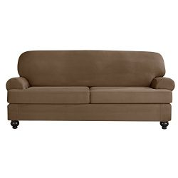 Sure Fit Designer Suede Convertible T-Cushion Sofa Furniture Cover – Taupe (SF44383)
