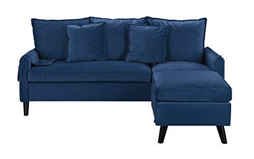 Classic Living Room Velvet Sectional Sofa, L-Shape Couch with Pocket Organizer (Navy)