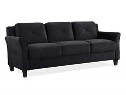 Lifestyle Solutions KD Rolled-Arm Collection Grayson Micro-Fabric Sofa 80.3″x32″x32. ...