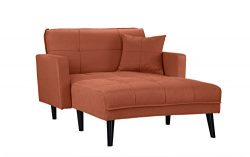 Mid Century Modern Linen Fabric Recliner Sleeper Chaise Lounge – Futon Sleeper Single Seat ...
