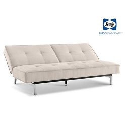 Sealy Anson Contemporary Split-Back Convertible Microfiber Sofa in Cozy Sand
