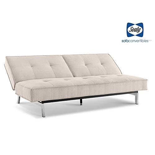 Sealy Anson Contemporary Split-Back Convertible Microfiber Sofa in Cozy Sand