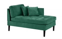 Chaise Lounge Indoor Chair Tufted Velvet Fabric (with 2 Accent Pillows), Modern Mid Century Plus ...