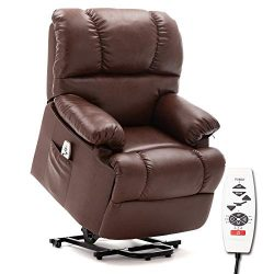 ERGOREAL Lift Chair, Electric Power Lift Recliner, Heat and Massage Recliner with PU Leather Uph ...