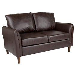Flash Furniture Milton Park Upholstered Plush Pillow Back Loveseat in Brown Leather