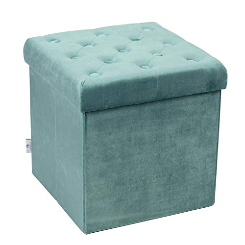 B FSOBEIIALEO Storage Ottoman Velvet Tufted Folding Ottomans Footstool Rest Seat with Removable  ...