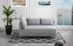 Upholstered 55.9″ inch Modern Living Room Linen Chaise Lounge (Light Grey)