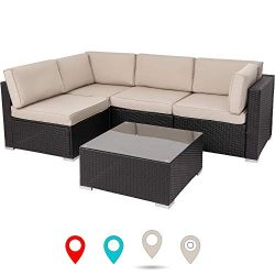 Walsunny Outdoor Black Rattan Sectional Sofa- Patio Wicker Furniture Set with Tea Table&Wash ...
