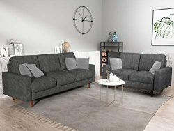 US Pride Furniture S5420-S+L Macsen 2 Piece Living Room Set, Grey