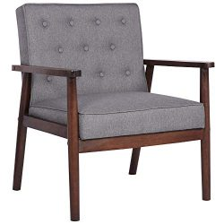 Mid-Century Retro Modern Accent Chair Wooden Arm Upholstered Tufted Back Lounge Chairs Seat Size ...