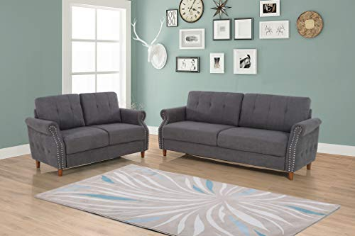 US Pride Furniture S5464-2PC Living Room Set, Sofa and Loveseat, Grey