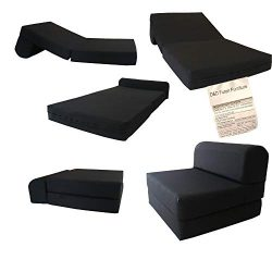 D&D Futon Furniture Black Sleeper Chair Folding Foam Bed Sized 6 X 32 X 70, Studio Guest Fol ...