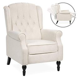 Best Choice Products Tufted Upholstered Wingback Push Back Recliner Armchair w/Padded Seat, Nail ...