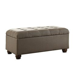 HomePop Linen Button Tufted Storage Bench with Hinged Lid, Taupe