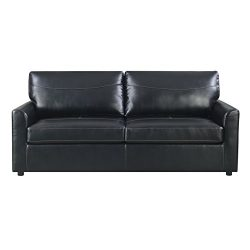 Emerald Home Slumber Black Sleeper Sofa with Faux Leather Upholstery And Gel Foam Mattress