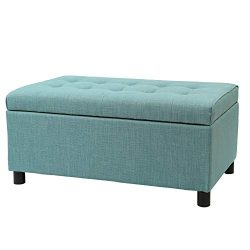 Joveco Storage Ottoman Fabric Button Tufted Rectangular Teal Footrest Bench (CadetBlue)