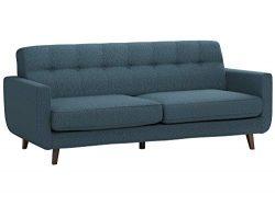 Rivet Sloane Mid-Century Modern Tufted Sectional Sofa Couch, 79.9″W, Denim