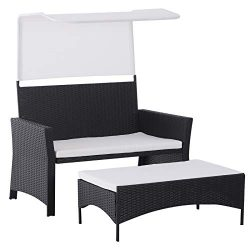 Outsunny 2 Piece Rattan Wicker Outdoor Loveseat with Sunshade Canopy and Nesting Ottoman Footres ...