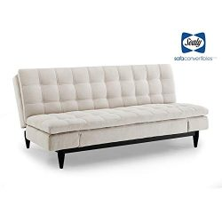 Sealy Montreal Transitional Convertible Sofa with Microfiber Upholstery in Beige